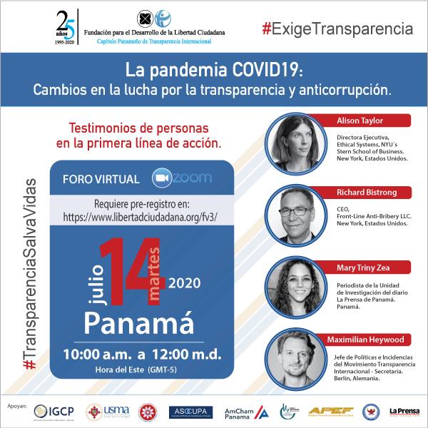 12 Lecciones aprendidas en el Foro online: La Pandemia COVID19: Cambios en la lucha por la transparencia y anticorrupción