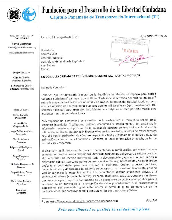 LA FUNDACIÓN PARA EL DESARROLLO DE LA LIBERTAD CIUDADANA PRESENTA CONSIDERACIONES A LA CONTRALORIA SOBRE REFRENDO DEL HOSPITAL MODULAR