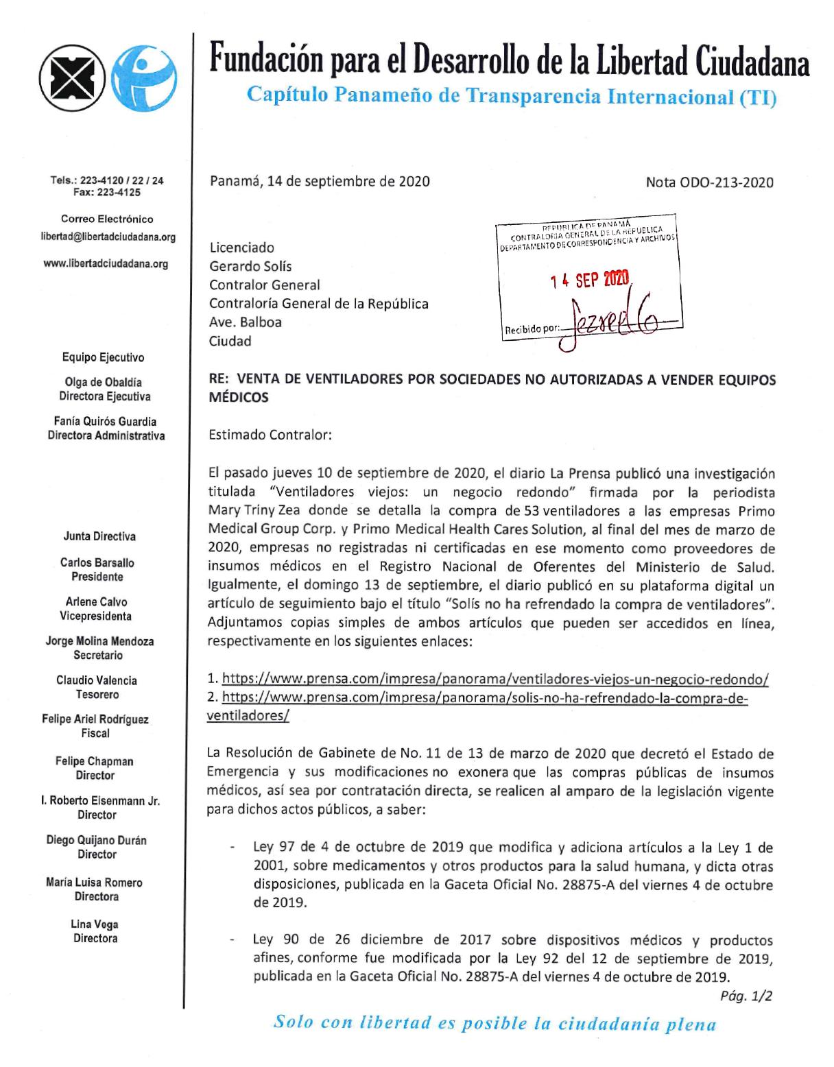 Solicitud al CGR para que no refrende compras a entes no autorizados para vender equipos médicos
