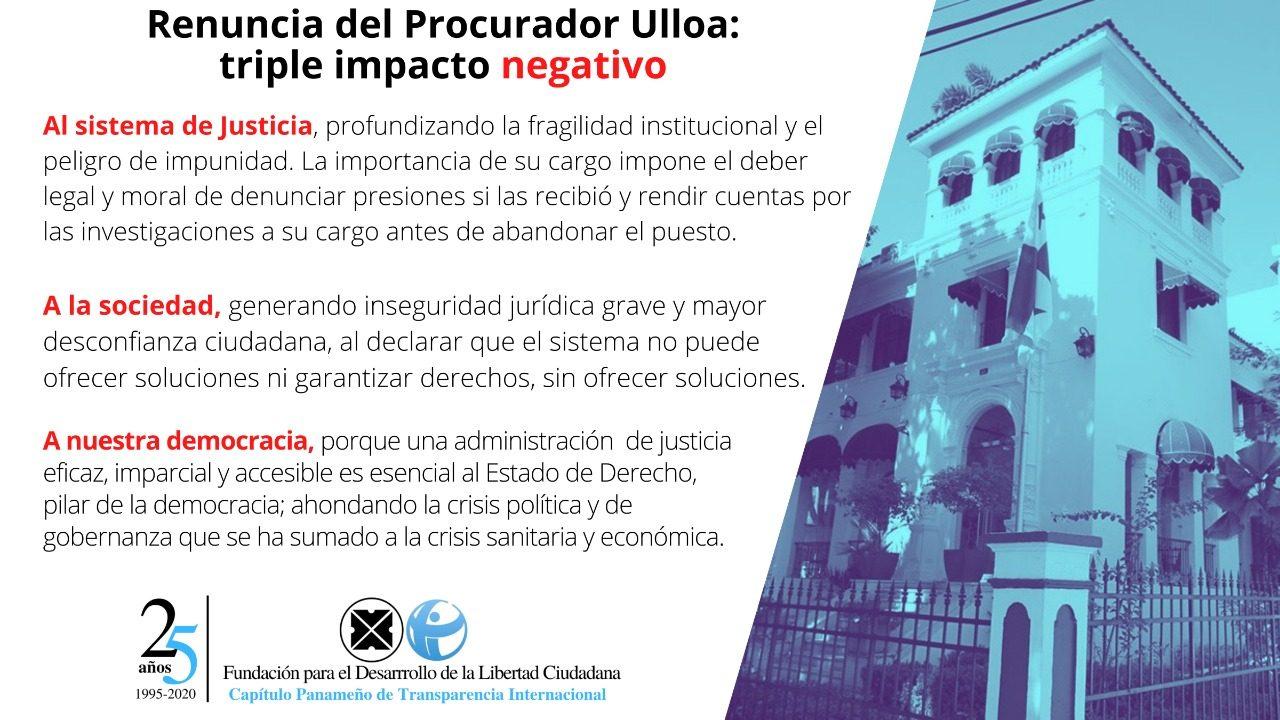Renuncia del procurador Ulloa:  Impacto negativo incalculable al sistema de justicia y a la democracia
