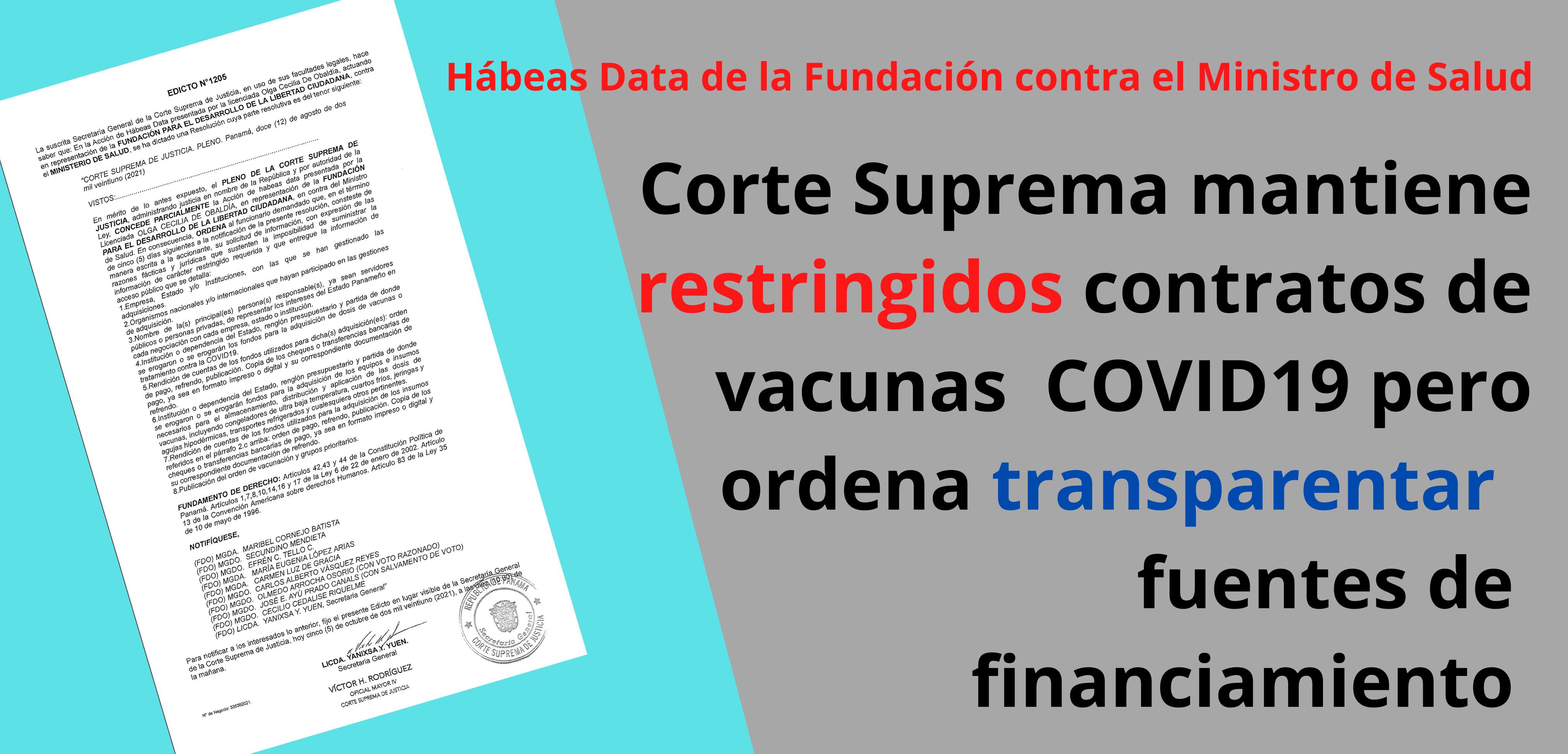 Corte Suprema mantiene restringidos contratos de vacunas  COVID19 pero ordena transparentar sus fuentes de financiamiento