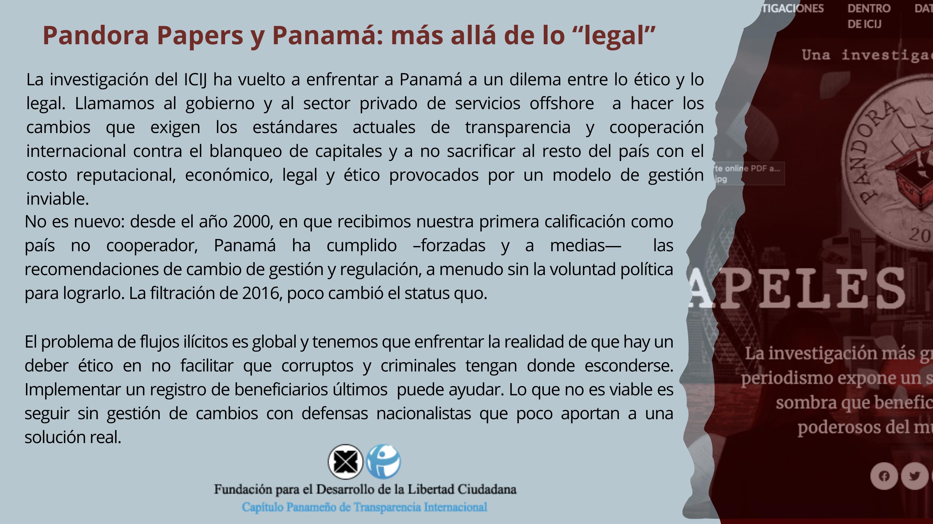 """Pandora Papers y Panamá: Más allá de lo """"legal"""""""